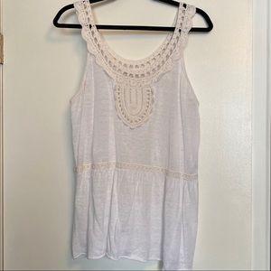 Banana Republic | Cream Linen Crochet Top | Sz XL